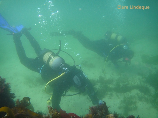 Piet and Tami at the cement wreck, Long Beach