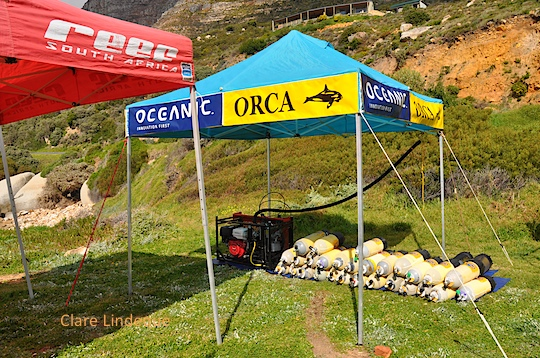 The mobile compressor, operated by Orca Industries