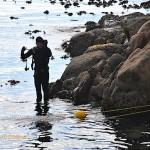 Safety diver Brocq takes a break