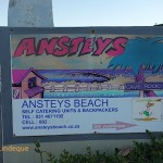 Ansteys Beach Backpackers sign