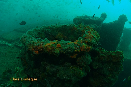 Across the top of the wreck