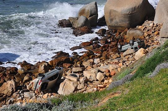 Car on the rocks