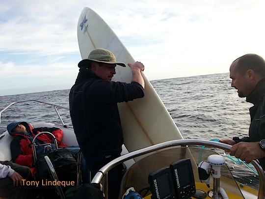 Loading surfboards onto Seahorse