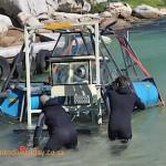 Getting the underwater braai into the sea