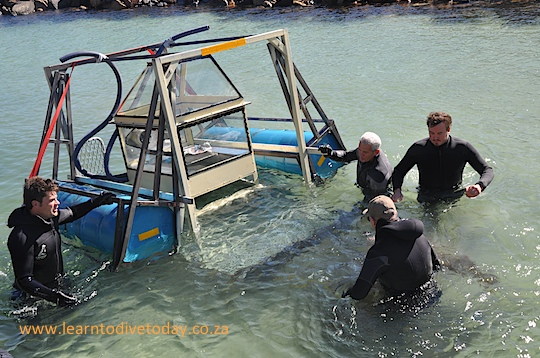 Pulling the braai on its trailer into the water