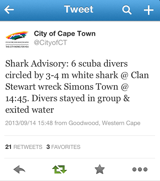 Advisory issued by City of Cape Town