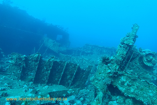 Swimming across the top of the wreck