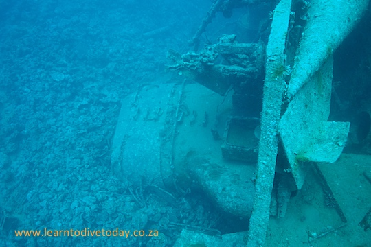 Funnel of the minesweeper on the seabed