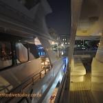 On board in the marina at night