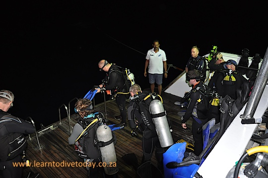 Traffic on the dive deck before a night dive