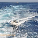 Towing one of the Zodiacs