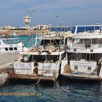 Boats at the fuelling station in Hurghada