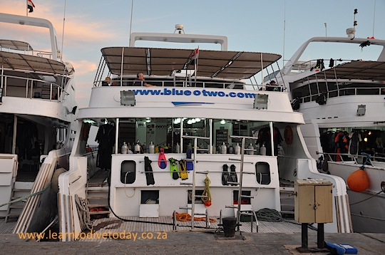 Our liveaboard in the marina at the end of our trip