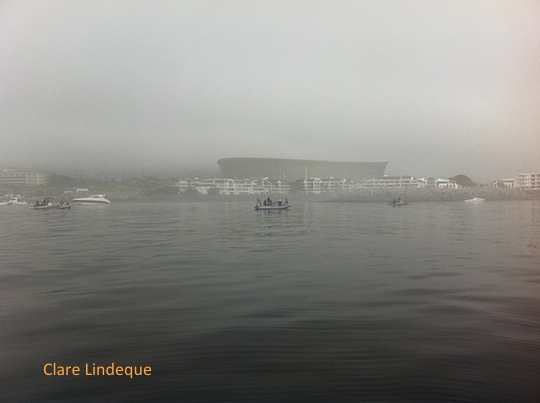 Cape Town Stadium shrouded in mist