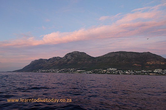 Simon's Town bathed in pink light