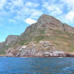 The guano-stained cliffs at the south end of Smitswinkel Bay