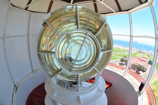 The rotating lens at Green Point lighthouse