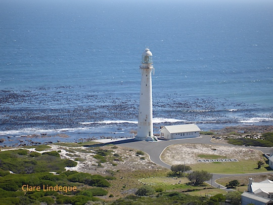 Slangkoppunt lighthouse before its recent paint job