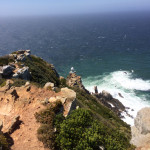 View down the cliffs to the new Cape Point lighthouse