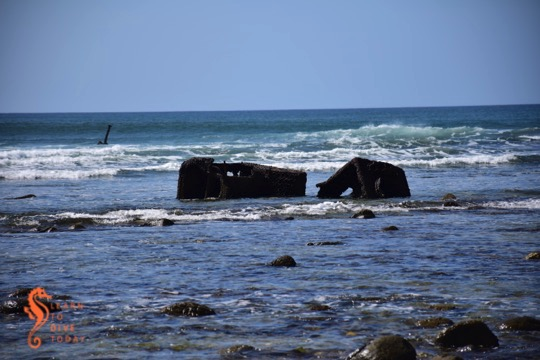 Wreckage of the Kadie inshore and further offshore