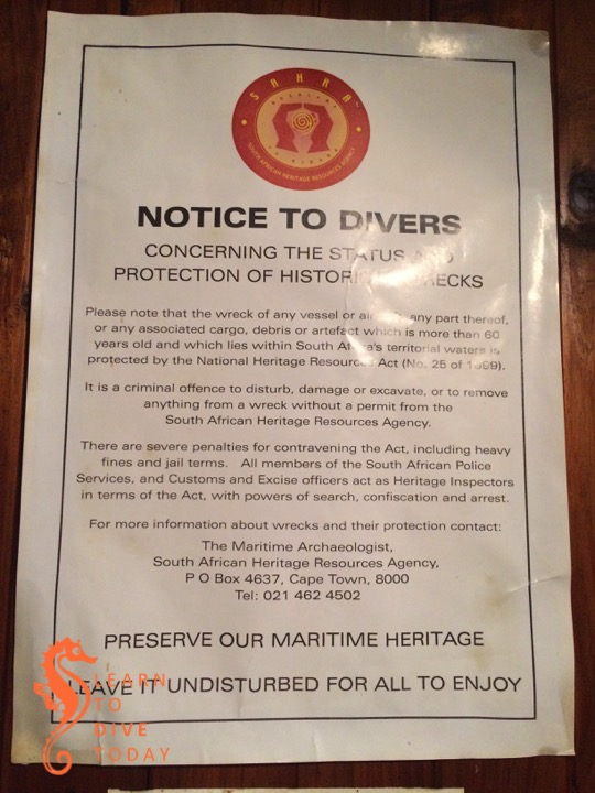 Reminder about regulations pertaining to shipwrecks