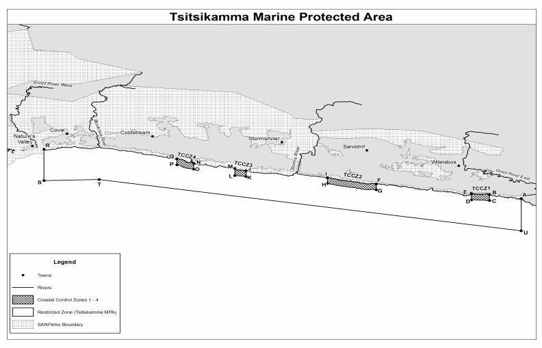 Map of the Tsitsikamma MPA, with proposed fishing areas
