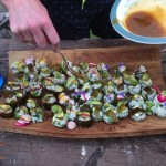 Vegetarian sushi with sea lettuce and kelp