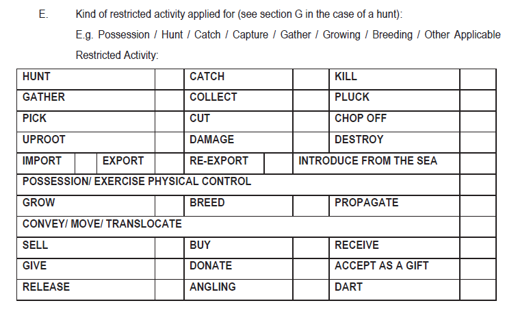 Restricted activities permit application form extract