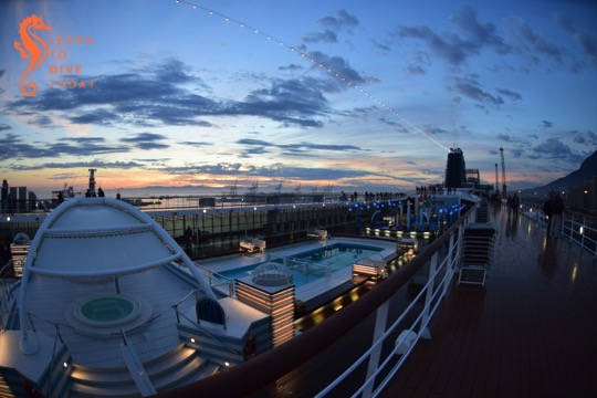 View across MSC Sinfonia at dawn