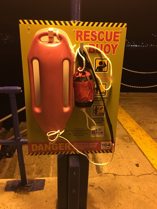 The NSRI pink rescue buoy in Simons Town