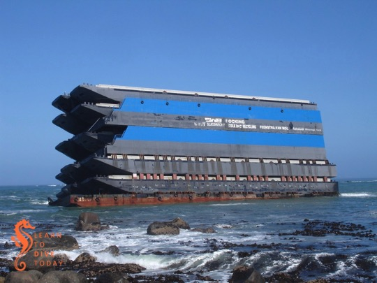 The eight storey pile of barges in December 2009